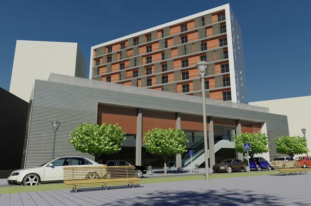 Edificio 64 viviendas, mercado municipal y aparcamiento